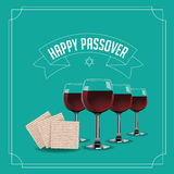 Happy Passover design traditional matzoh and wine EPS 10 vector. Royalty free stock illustration for greeting card, ad, promotion, poster, flier, blog, article Stock Photos