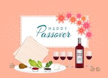 Happy Passover in hebrew Jewish holiday banner tamplate with wine, seder plate, coral color backgroun. Passover Jewish Spring holiday coral color background royalty free illustration
