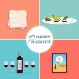 Happy Passover in hebrew Jewish holiday symbols banner tamplate with wine, seder plate, matzo. Passover Jewish Spring holiday coral color background. Text in stock illustration