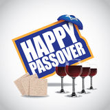 Happy Passover icon traditional matzoh and wine EPS 10 vector. Royalty free stock illustration for greeting card, ad, promotion, poster, flier, blog, article Royalty Free Stock Photography