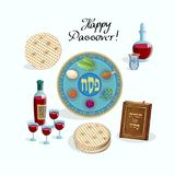 Passover Jewish Holiday Pesach seder symbols. Happy Passover lettering, Jewish Holiday symbols, icons set, four wine glass, matza - jewish traditional bread for royalty free illustration