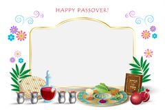 Passover Jewish Holiday Pesach seder symbols. Happy Passover lettering, Jewish Holiday symbols, icons set, four wine glass, matza - jewish traditional bread for vector illustration
