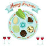 Happy Passover Seder meal greeting card poster design. Stock Photography
