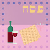 Happy passover with star of david, wine and matzah. Royalty Free Stock Image