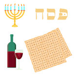 Happy passover with star of david, wine and matzah. Royalty Free Stock Photos