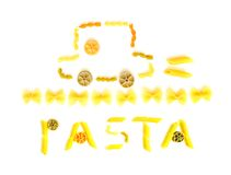 Happy pasta picture. A still life picture of a toy car made from dried pasta of colorful shapes. Complete with the word pasta. Types used include penne, farfalle stock image