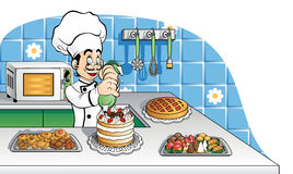 Happy pastry chef at work. Illustration of a cheerful pastry chef at work. Available in vector AI format Stock Photo