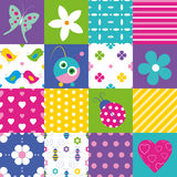 Happy patchwork pattern collection royalty free illustration