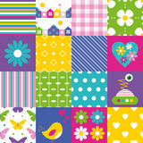 Happy patchwork pattern collection Stock Photos