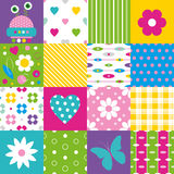 Happy patchwork pattern collection Stock Photo