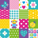 Happy patchwork pattern collection Royalty Free Stock Photo