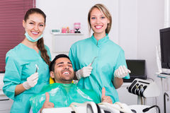 Happy patient at dental clinic Royalty Free Stock Images