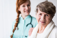 Happy patient of geriatic ward Royalty Free Stock Image