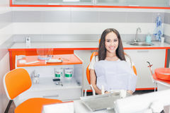 Happy patient at stomatological clinic. Stock Photos