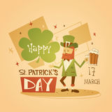 Happy Patrick Day Festival Beer Holiday Poster Fest. Flat Vector Illustration Stock Images