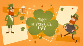 Happy Patrick Day Festival Beer Holiday Poster Fest. Flat Vector Illustration Stock Photography