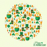 Happy Patrick's Day Concept with Flat Lovely Icons Royalty Free Stock Images
