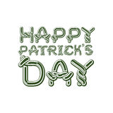 Happy Patrick`s Day lettering emblem. Celtic font letters. Natio Stock Photo