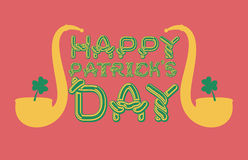 Happy Patrick`s Day lettering emblem. Celtic font letters. Natio Royalty Free Stock Photo