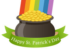 Happy Patrick s Day Pot of Gold & Ribbon Stock Images