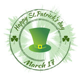 Happy Patrick`s day.  Round green stamp, seal. Royalty Free Stock Photos