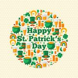 Happy Patrick's Day Text Concept with Flat Lovely Stock Photography