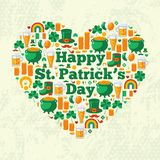 Happy Patrick's Day Text Concept with Flat Lovely. Icons Arranged in Form of Heart.  Vector illustration. Patrick Day Frame. Green clover, leprechaun hat, pot Royalty Free Stock Photography