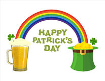 Happy Patricks day. Beer mug and Rainbow. Green Hat Topper lepre Stock Photos