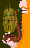 Happy Patricks Day. Leprechaun smokes pipe. Smoking set brier an. Happy Patricks Day. Leprechaun smokes pipe. Smoking set brierl and Smoke, embers. Red beard Stock Photography