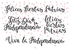 Happy patriotic holidays Spanish quotes. Hand written calligraphic Portuguese Spanish quotes for patriotic holidays with falling stars. Isolated objects. Vector Stock Photo