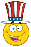 Happy Patriotic Yellow Cartoon Emoji Face Character Wearing A USA Hat stock illustration