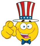 Happy Patriotic Yellow Cartoon Emoji Face Character Wearing A USA Hat And Pointing stock illustration