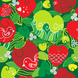 Happy pattern with hearts and love birds, . Stock Photo