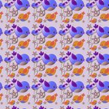 Happy pattern. Seamless  pattern with birds. Illustration in cartoon style.  Happy Easter Stock Image