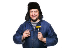 Happy, peaceful, crazy russian man with vodka and appetizer. Studio portrait isolated on white background Stock Images