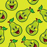 Happy Pear Seamless Pattern Stock Photography