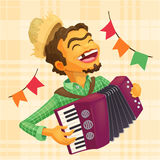 Happy peasant playing the accordion Royalty Free Stock Photography