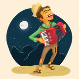 Happy peasant playing the accordion Stock Photo