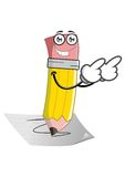 Happy pencil. Writing on sheets of paper Royalty Free Stock Image