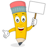 Happy Pencil Character Holding Banner Stock Photography