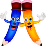 Happy pencil couple cartoon Royalty Free Stock Images