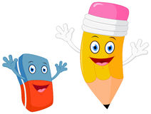 Free Happy Pencil With Eraser Cartoon Royalty Free Stock Photos - 55870198