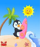 Happy penguin cartoon holding surfboard Stock Image