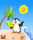 Happy penguin cartoon holding surfboard Royalty Free Stock Photos