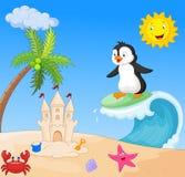 Happy penguin cartoon surfing Stock Photos