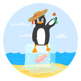 Happy penguin holding a drink and sitting on block Royalty Free Stock Images