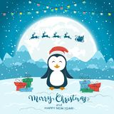 Happy Penguin and Santa on Blue Christmas Background. Happy penguin with gifts and flying Santa on blue winter background with lettering Merry Christmas and royalty free illustration