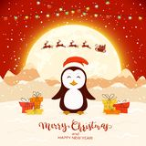 Happy Penguin and Santa on Red Christmas Background. Рappy penguin with gifts and flying Santa on red winter background with lettering Merry Christmas and stock illustration