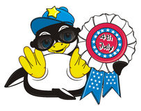 Happy penguin in sunglasses hold an american color ribbon. Stylish boy penguin lying on his back and hold an USA ribbon with inscrioption 4th July stock illustration