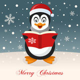 Happy Penguin Wishing a Merry Christmas Royalty Free Stock Photos